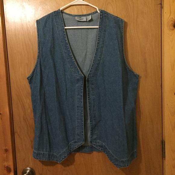 Vintage Jackets & Blazers - Vintage Basic Shell 100% Cotton Denim Vest